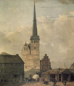 Die Nikolaikirche in Berlin, Johann Heinrich Hintze, 1827. Quelle Stiftung Stadtmuseum Berlin